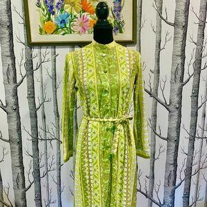 Vintage Green 60s 70s Flower Paisley Shift Dress